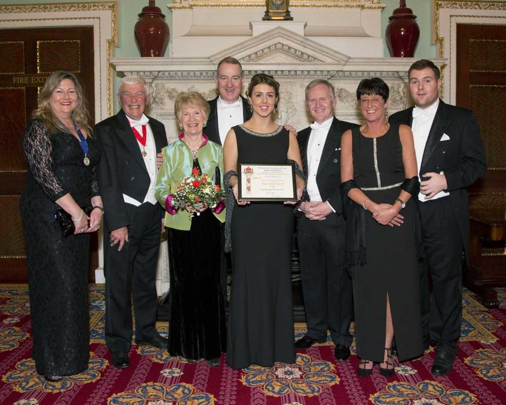 From left to right - Liveryman Annette Cove; Trade Warden Neil Robertson with wife Viv; Operations Director Robert Perkins; Abbie Morris; Hotter Founder Stewart Houlgrave; Factory Manager Joan Stewart and Abbie's partner Ryan King.