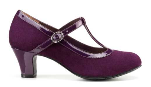 Michelle in plum is a comfortable women's heel.