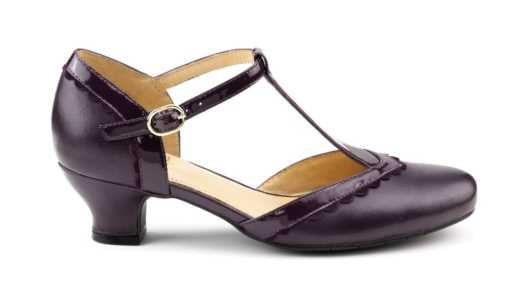 Vivienne in plum - comfortable t-bar shoes.