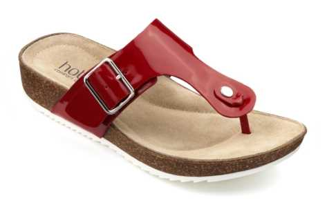Women's toe post sandal Resort in Red Patent