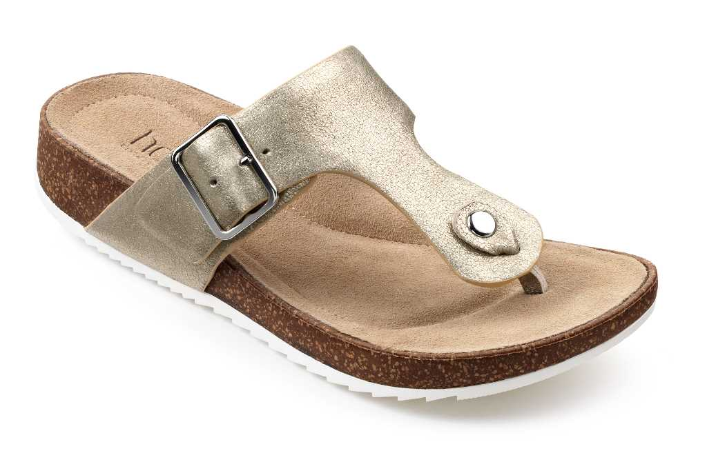 Women's toe post sandal Resort in Soft Gold