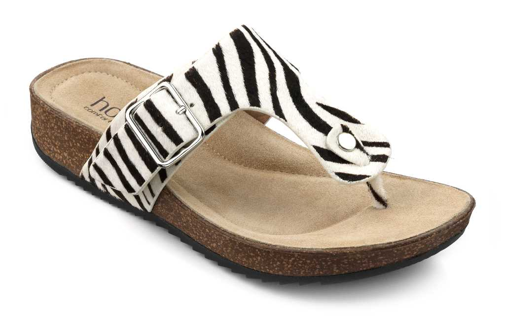 Women's toe post sandal Resort in Zebra Print