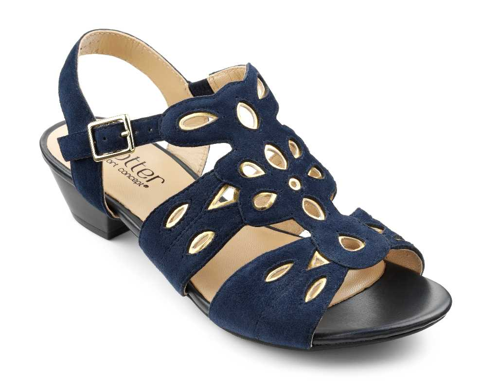Women's heel Arabella with cut out detail in colour Navy