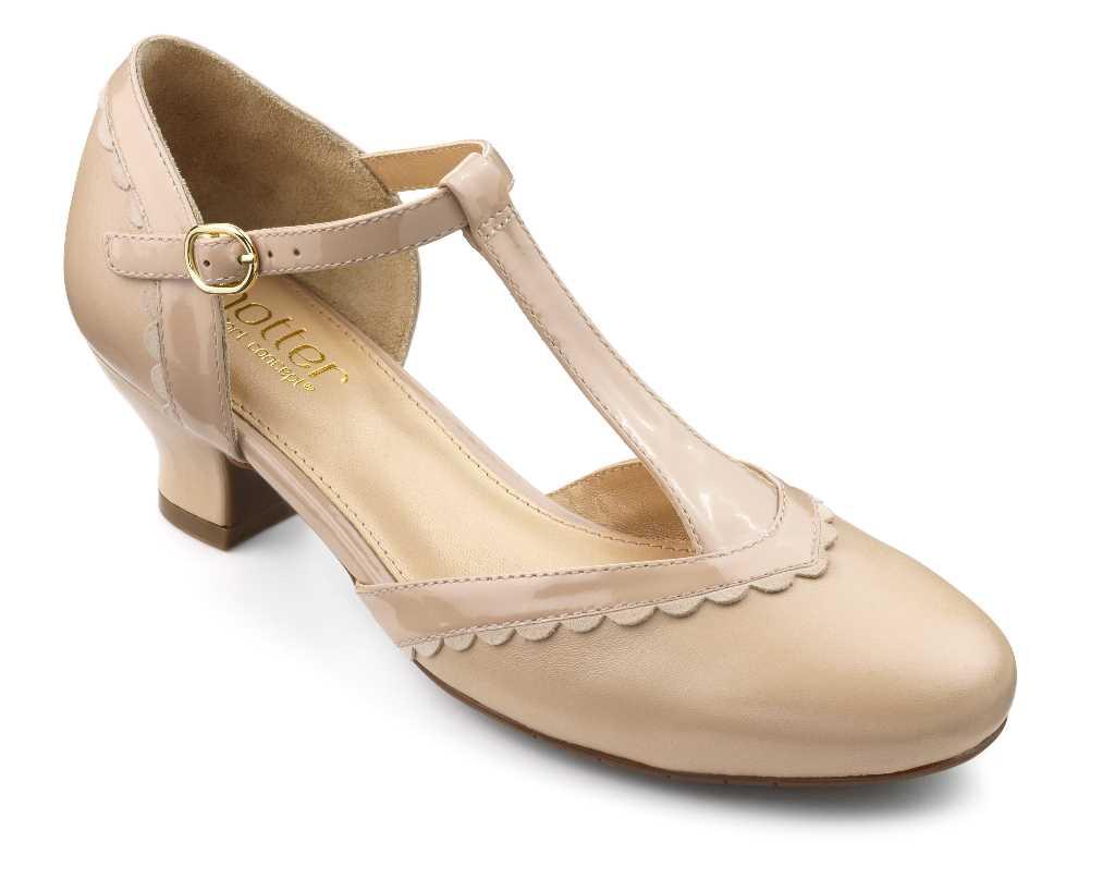 Vintage inspired women's heel Viviene in Beige