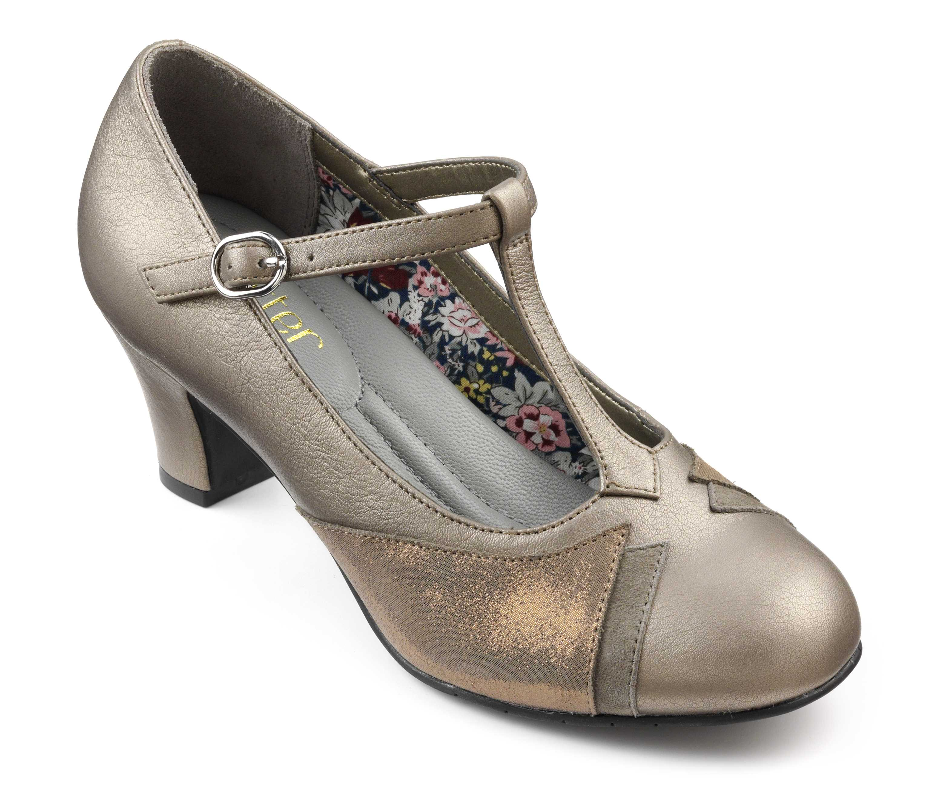 Women's t-bar heel Georgette in Pale Bronze