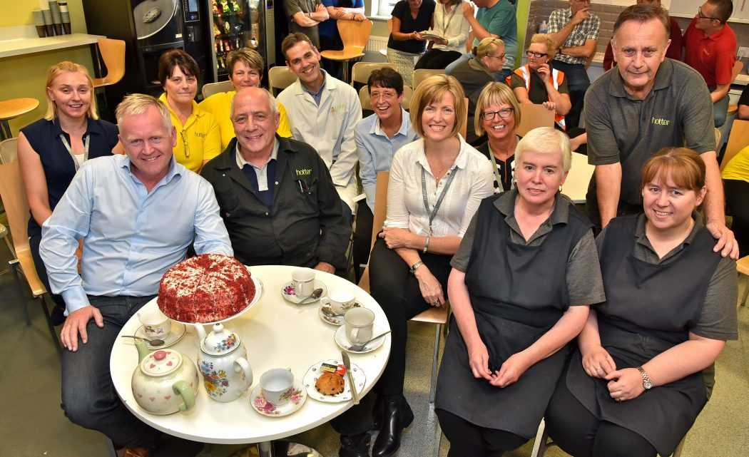The longest of our long servers! From left Nicky Murphy – 21 years; Stewart Houlgrave – Hotter Founder; Tina Beech – 27 years; Tommy Davies – 29 years; Sue Roughley – 34 years; Ste Frampton – 28 years; Joan Stewart – 29 years; Sara Prowse – Hotter CEO; Mae Pierce – 39 years; Margaret Rigby – 45 years; Tommy Garner – 48 years; Vicky Stead – 34 years.