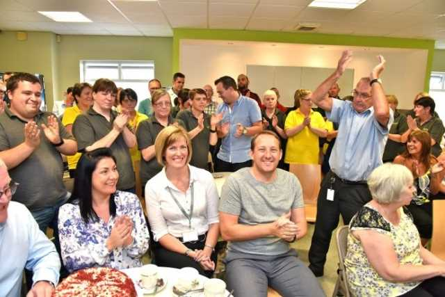 Our team celebrate with CEO Sara Prowse.