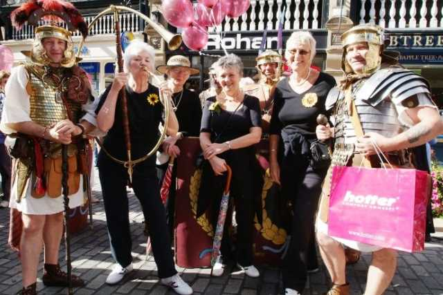 The Calendar Girls were wearing specially made Hotter shoes for the 5k walk.