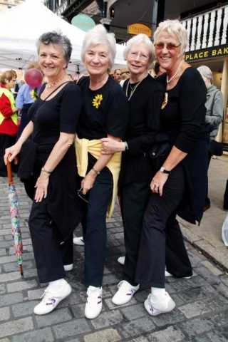 The Calendar Girls wore specially made, comfortable, Hotter shoes for the walk.