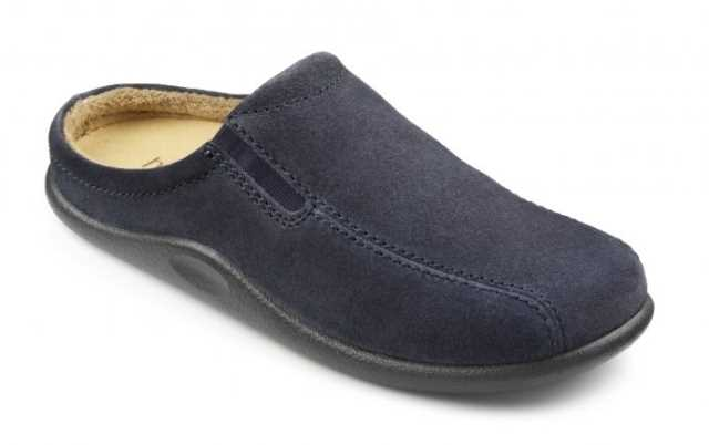 Men's slip on slipper Slide in Blue Suede