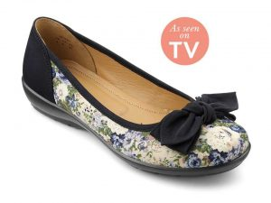 Hotter Originals, Shake shoes, canvas shoes, wide fitting shoes, comfortable women's shoes, British made shoes, summer shoes, ballerina flats, floral prints, leather shoes