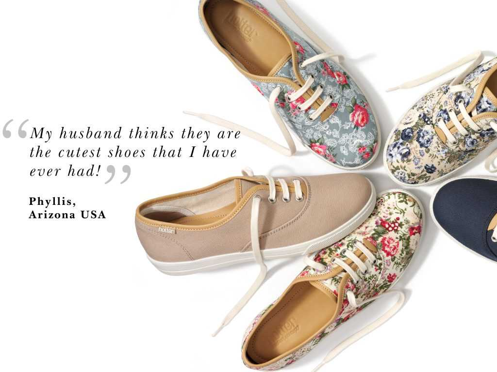 Hotter Originals, Canvas Shoes, Wide fit shoes, comfortable women's shoes, The Holiday shop, summer holiday shoes, SS17, floral print, ladies shoes, footwear